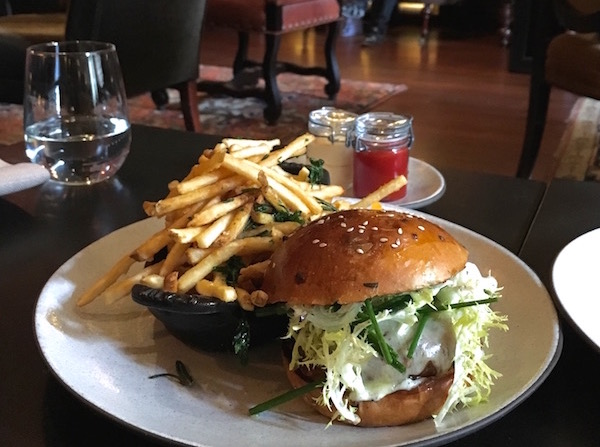 The chicken burger with foie gras and black truffle is the lunch version of the famed roasted chicken for two.