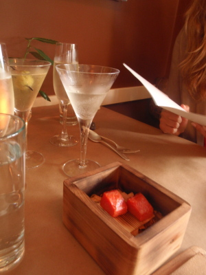 Dirty martini, prosecco and salmon in a cedar box