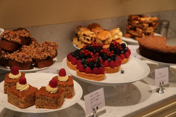 Fresh fruit tarts, muffins and carrot cake at Claus.