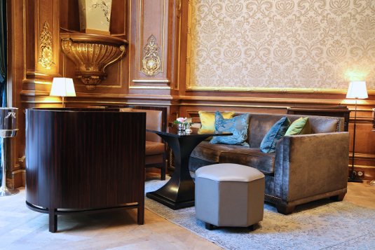 Seating areas featured sumptuous furnishings.
