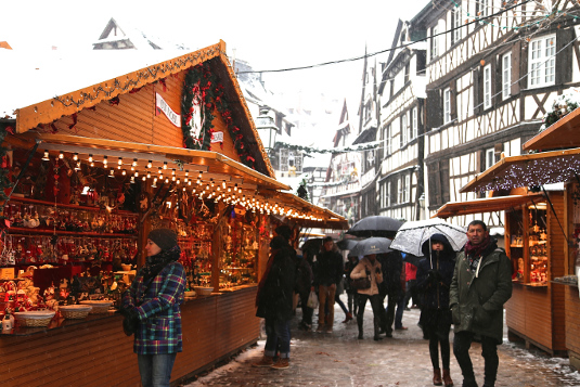 The Christmas market in the Petite France neighborhood.