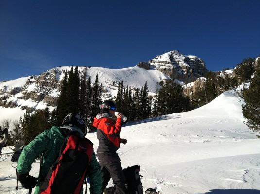 Skiers prepare to ski the backcountry in Jackson Hole.