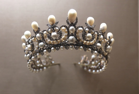 Empress Eugenie's pearl diadem is in the Louvre,