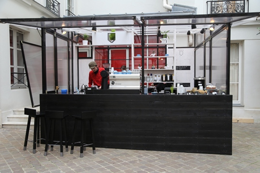 Honor Coffee Bar is located next to Comme des Garcons.