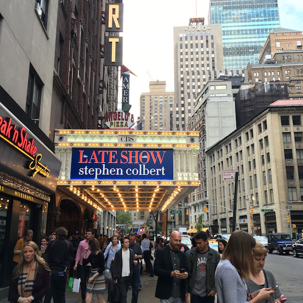 The Late Show is filmed at the Ed Sullivan Theater.