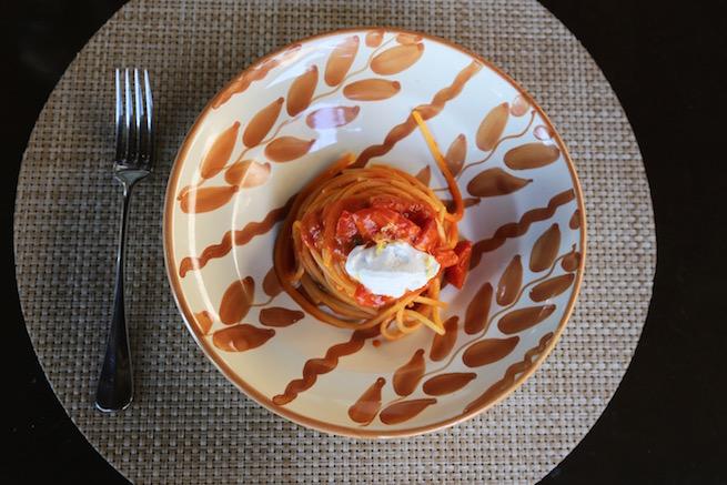 Pasta dish at Osteria La Canonica in Tuscany