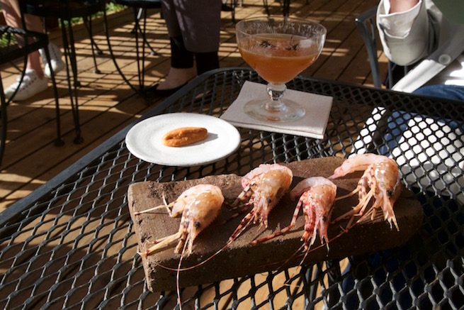 Image of prawns at the Willows Inn on Lummi Island.