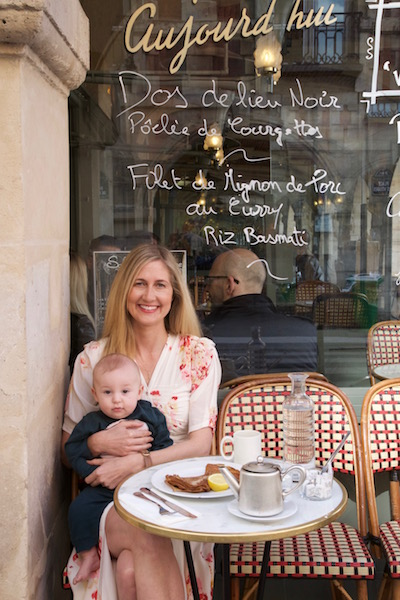 Travel writer Casey Hatfield-Chiotti and her son Wylie in Paris