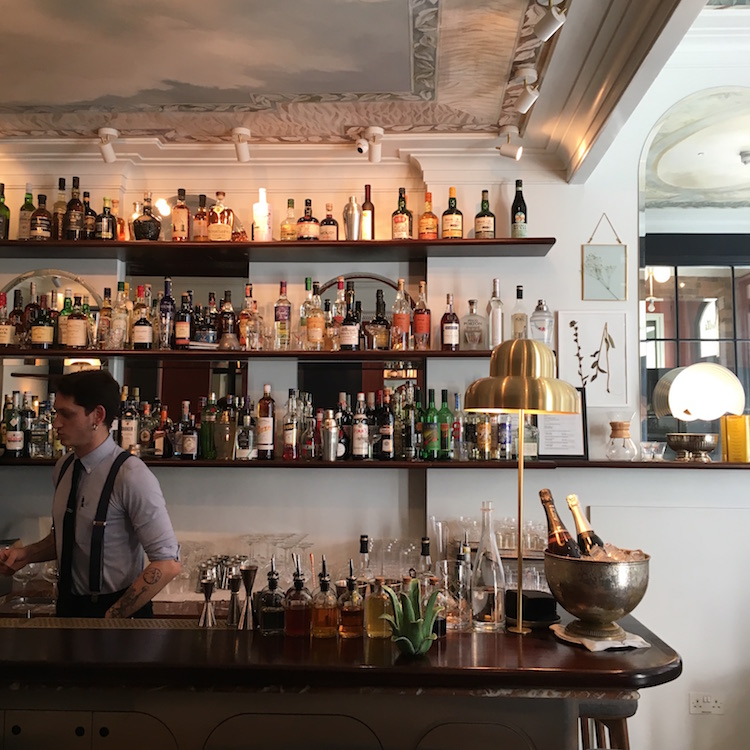 Image of the cocktail bar at the Henrietta Hotel, one of the best places to stay in London