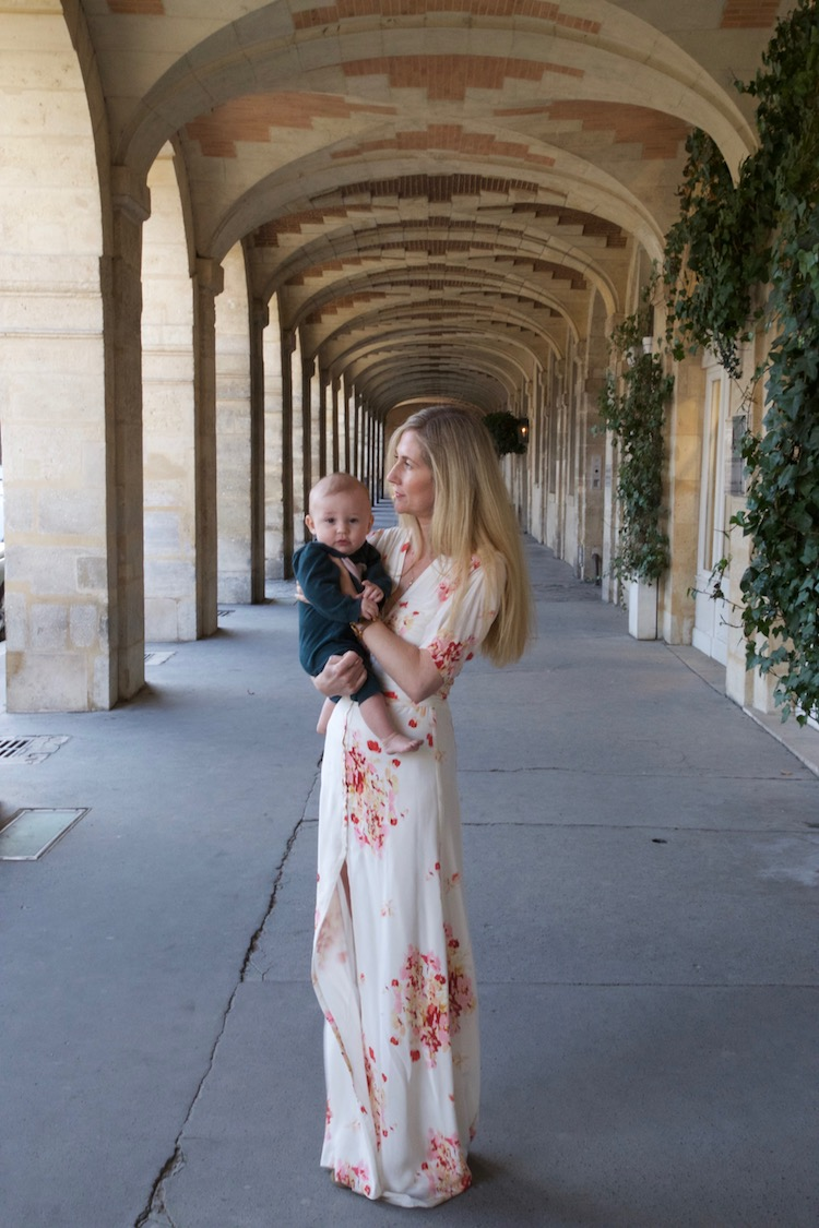 Image of writer Casey Hatfield-Chiotti and her son Wylie in Place des Vosges