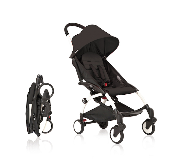 Image of Babyzen YOYO with white frame and black seat pad and canopy, the best stroller for travel with kids