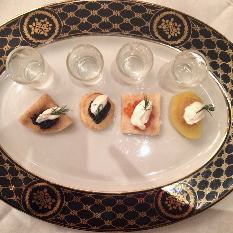 Image of the caviar and vodka tasting at the Belmond Grand Hotel Europe