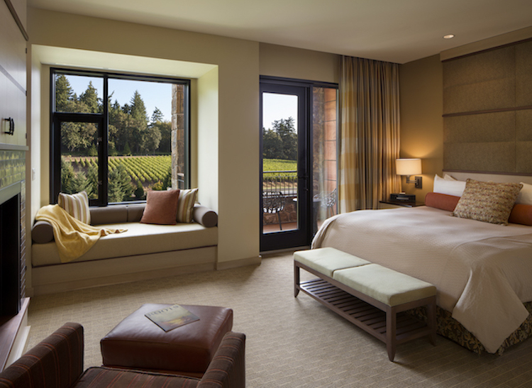 Image of a guest room at the Allison Inn & Spa in the Willamette Valley
