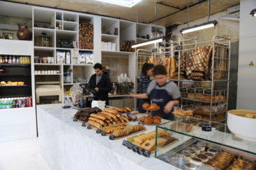 Image of the pastry counter at Liberté bakery in Paris