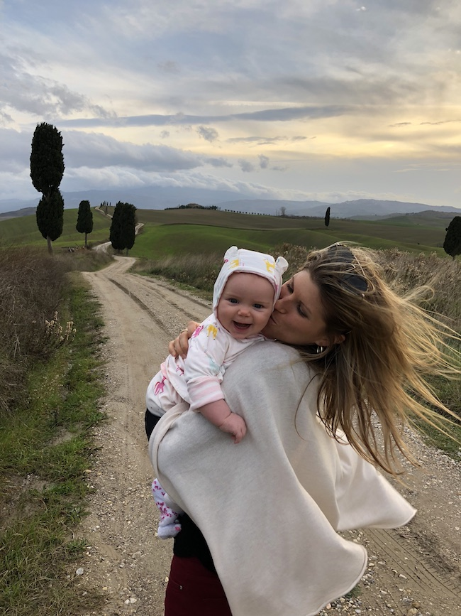 Image of Kelley Ferro with daughter in Italy.