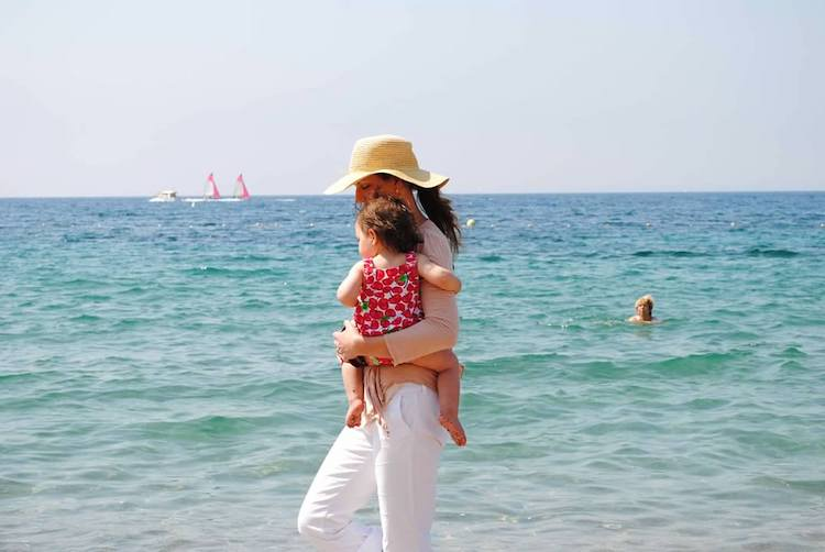 Image of Kate McMahon with daughter in Cannes