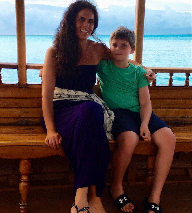 Image of Kristin Chambers and son Michael in the Maldives