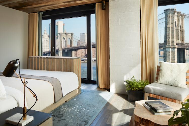 A Bridge King room at 1 Hotels Brooklyn Bridge.